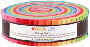 Skinny Strips Kona Solids Bright Colorway Robert Kaufman 41pcs - Fuller Fabrics