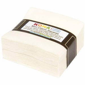 "Kaufman Kona 2.5"" x 2.5"" Mini Charm Squares Snow (off white)"