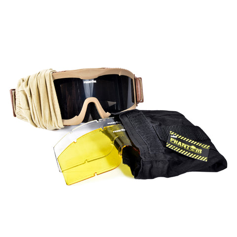 Phantom Tactical Goggle W/three lens Desert