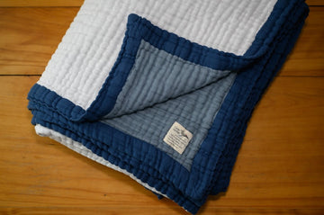 8 Layer Reversible Slate, Navy & White Organic Cotton Muslin Oversized Throw - Gray Heron Blankets