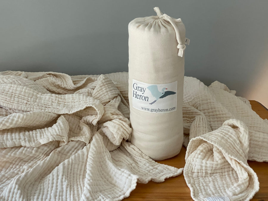 4 Layer Solid Cream Organic Cotton Muslin Queen - Gray Heron Blankets