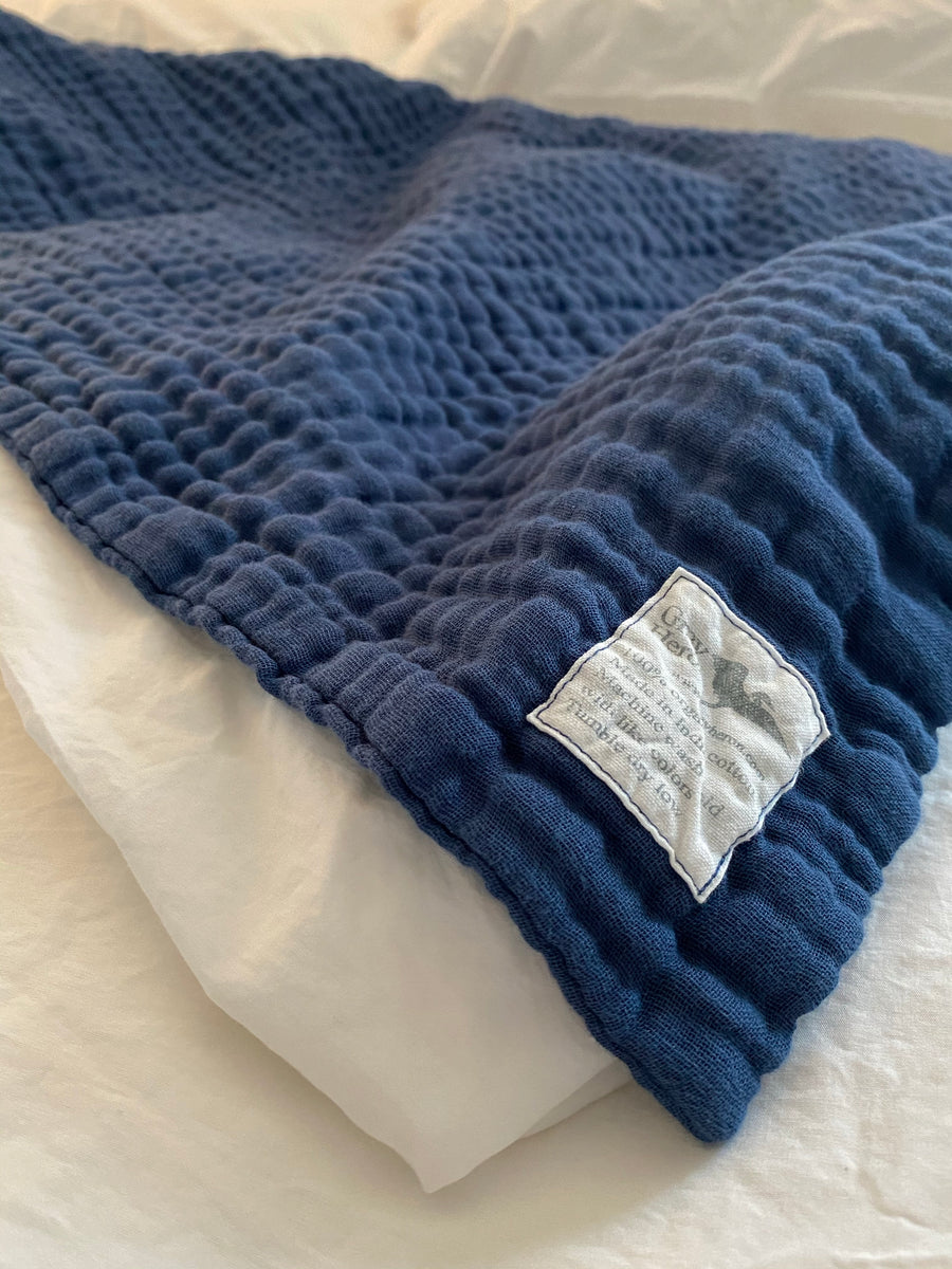 8 Layer Solid Ocean Blue Organic Cotton Muslin Blanket in King - Gray Heron Blankets