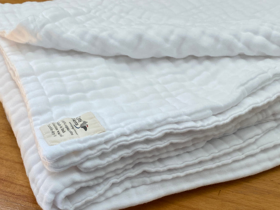 8 Layer Solid Snow Organic Cotton Muslin Queen - Gray Heron Blankets