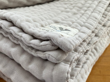 8 Layer Solid Oat Organic Cotton Muslin King - Gray Heron Blankets