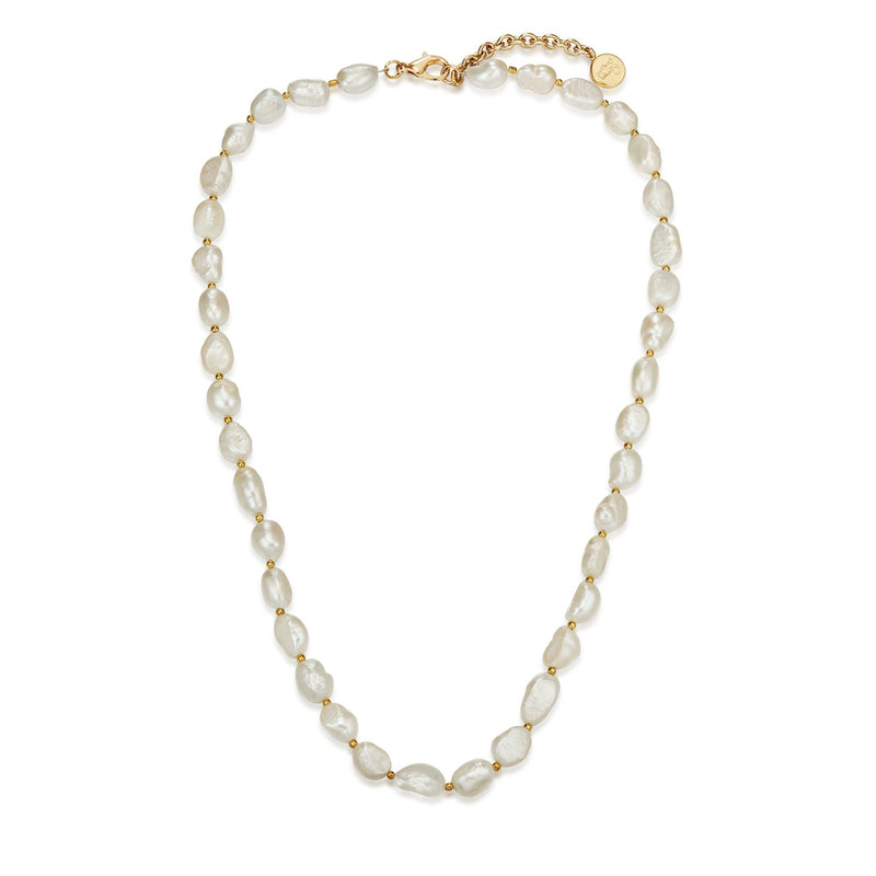 Gold Baroque Petite Pearl Necklace