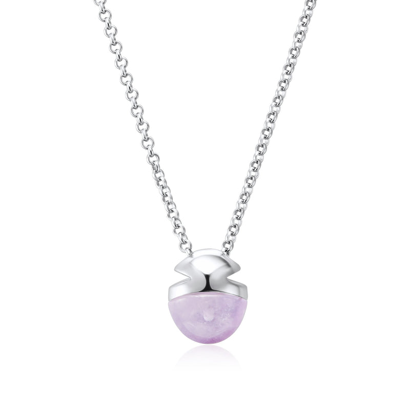 Sterling Silver Petite Amethyst Amulet Necklace