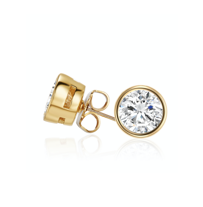 Gold Solitaire Studs
