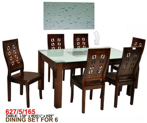 Dining Set with Frosted Glass Top 627-5-165