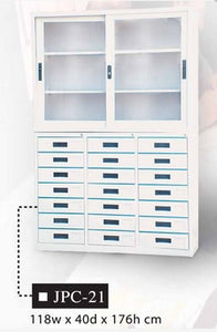 Two-Part Office Cabinet with Glass Display and Bottom Drawers, JPC-21