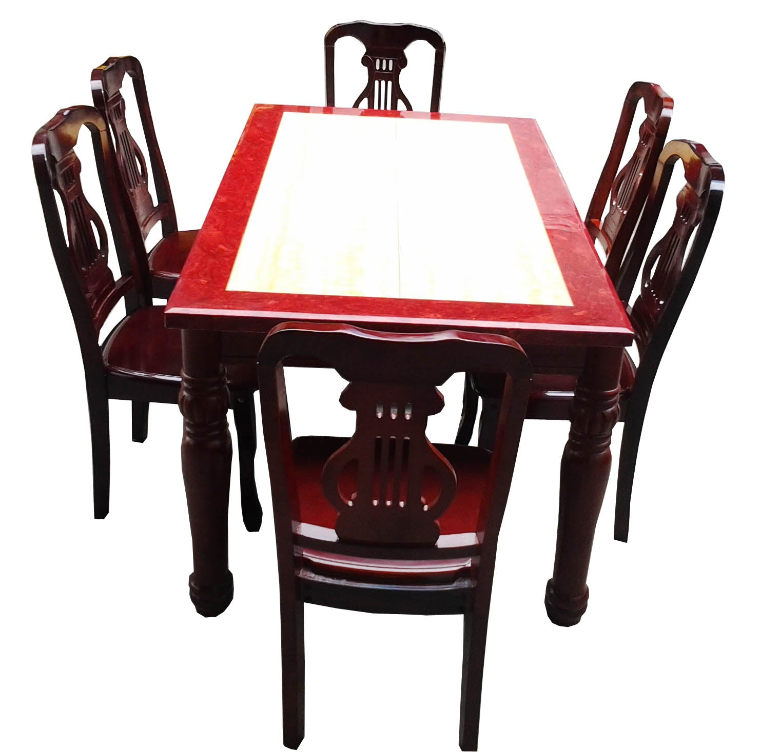 Marble Top Dining Set with Red Border