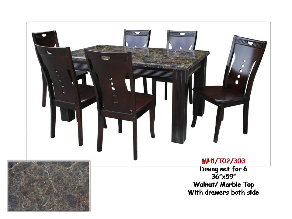 Walnut 6-Seater Marble Top Dining Set