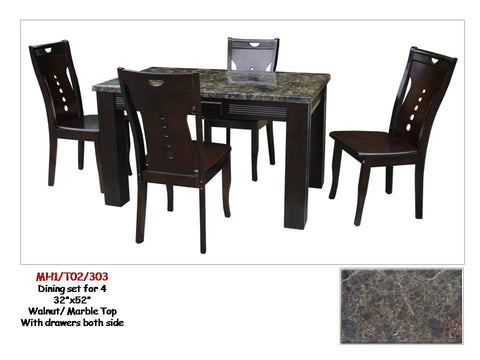 MH1/T02/303 Dining Table with 4 Chairs