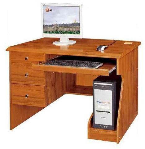 Computer Table with Three Drawers, Keyboard Drawer