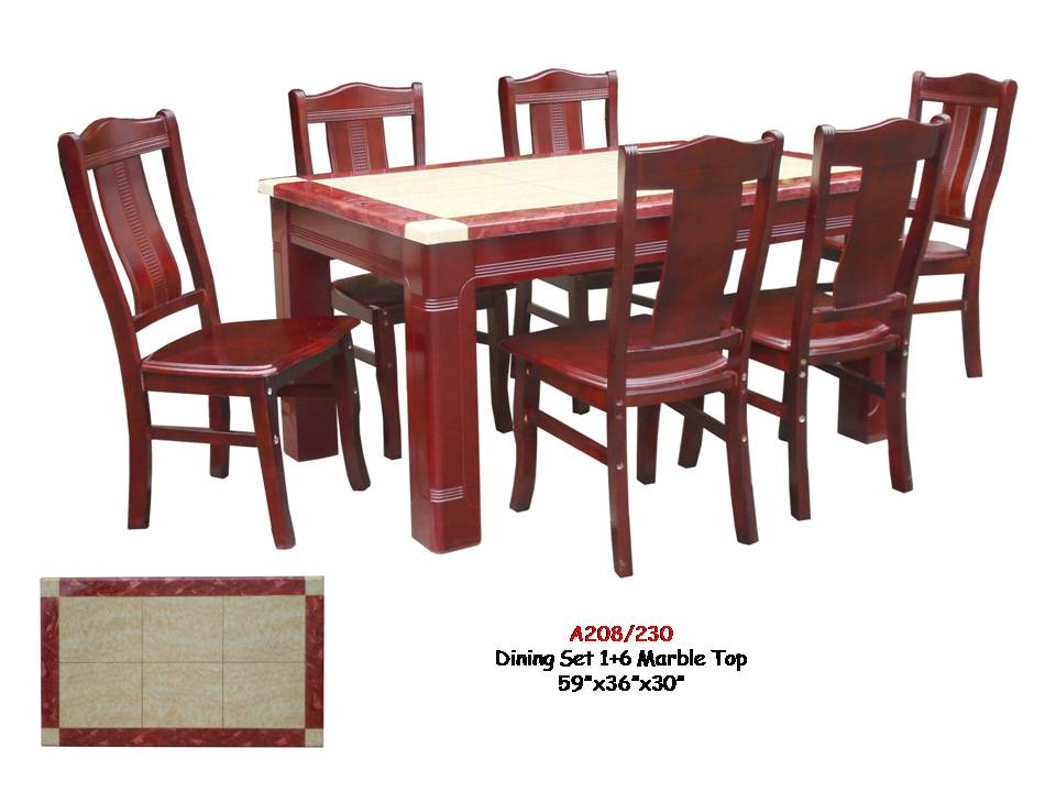 A208/230 6-Seater Marble Top Dining Table