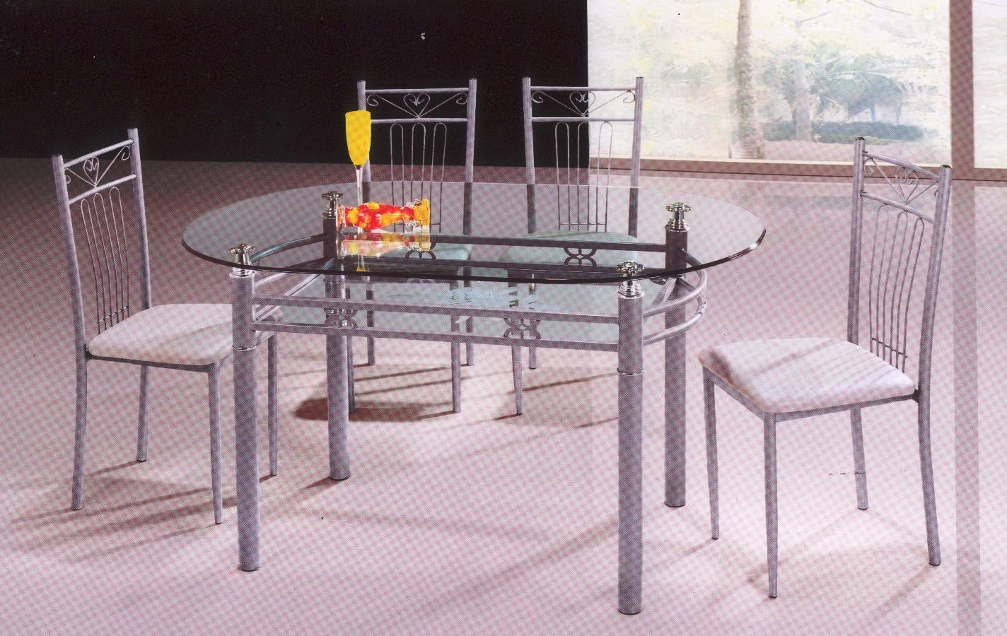 Analie Dining Set with Round Tempered Glass