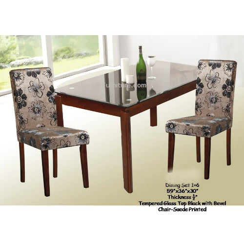 Dining Set with Beautiful Suede Printed High Back Chairs