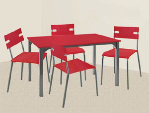 Red Dining Set with Slim Type Chairs