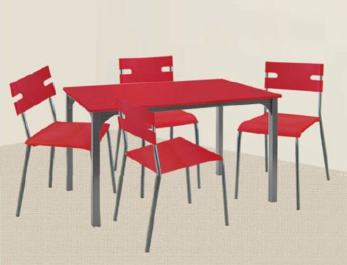 Red Dining Set With Slim Type Chairs Lorenz Furniture