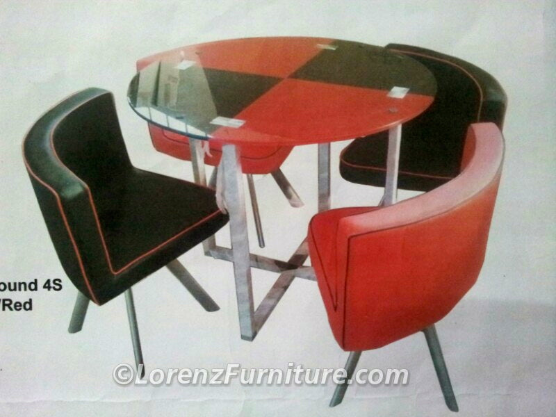 Red/Black Round 4-Seater Table