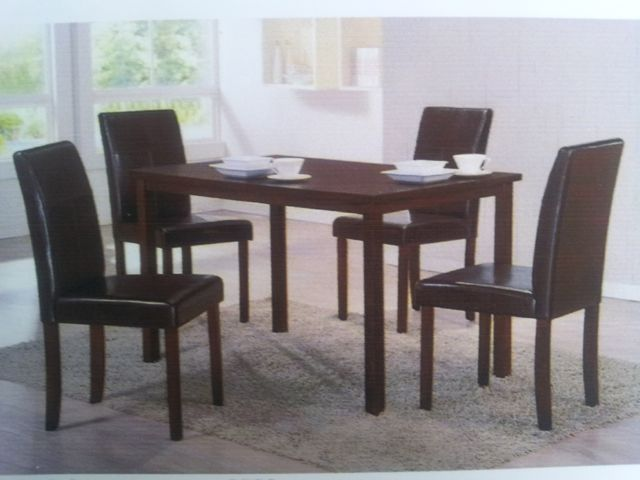 Dining Table Set with Chairs in Matt Black Leatherette