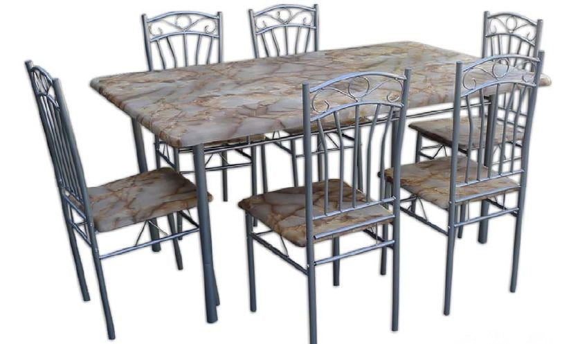 Yellow Marble Top Dining Table Set