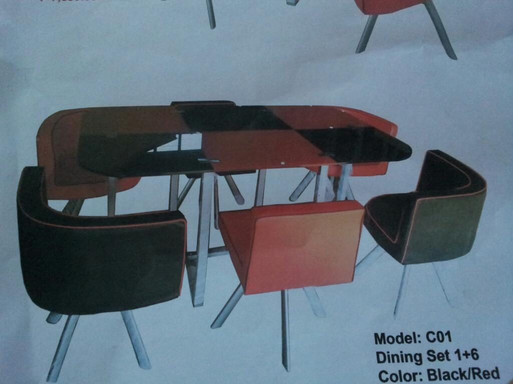 Red And Black Dining Table Set 6 Seater Lorenz Furniture