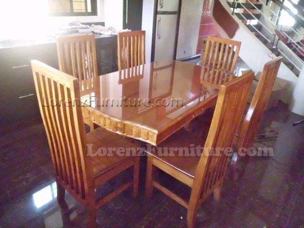 6-Seater Natural Wooden Dining Set with High Back Design Chairs
