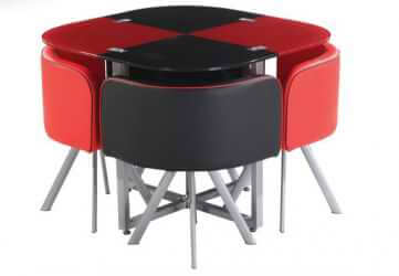 ZH-02 Black and Red Modern Glass Dining Table
