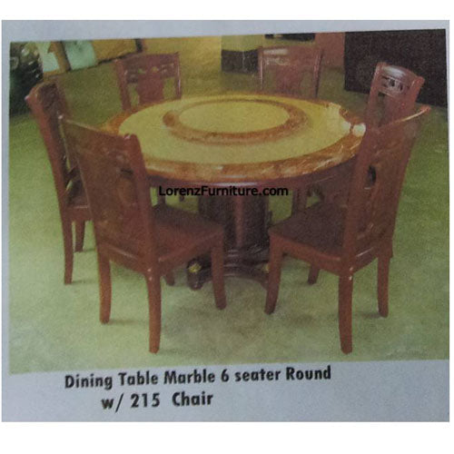 Dining Table Marble 6 Seater Round With 215 Chair Lorenz Furniture