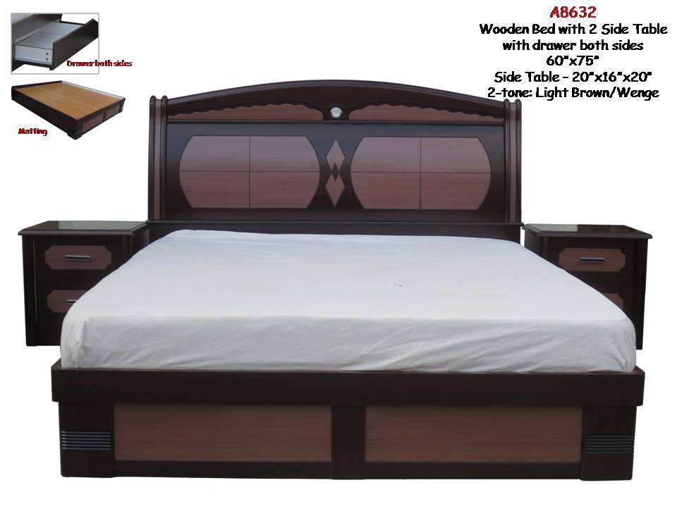 Wooden bed with 2 side Table with Drawer both sides A8632