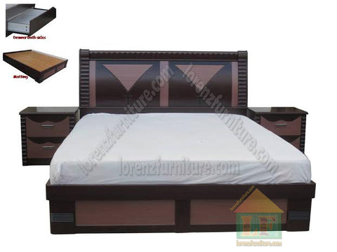 A8633 Wooden Bed With-2-side Table With Drawers