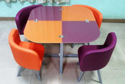 ZH-02 Orange and Purple 4 Seater Glass Top