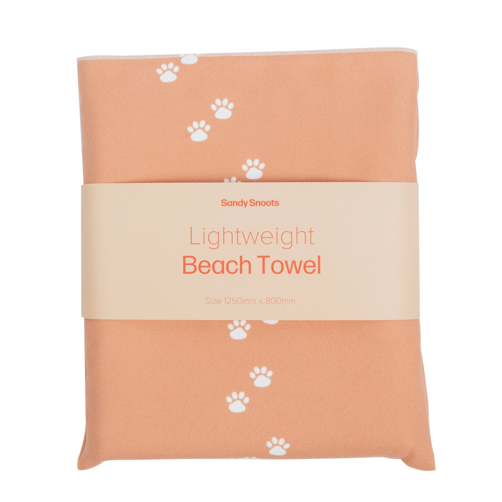Coral Paw Print Dog Beach Towel - Sandy Snoots
