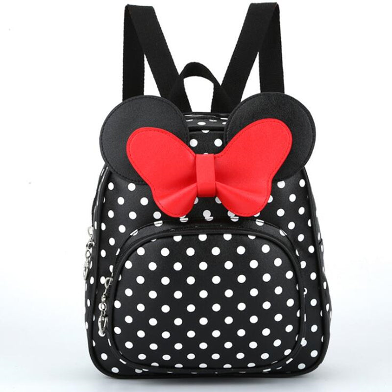 New Fashion PU Baby Girls Kids Backpack Cartoon Cute Butterfly Knot Minnie Backpack Princess Mini Bag Bow Mouse Ears of 4 colors