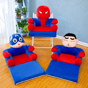 Baby Kids Foldable Sofa With Filler Children Chair Soft Cushion Ottomans Birthday Gift Boys Girls Lazy Backrest Seat