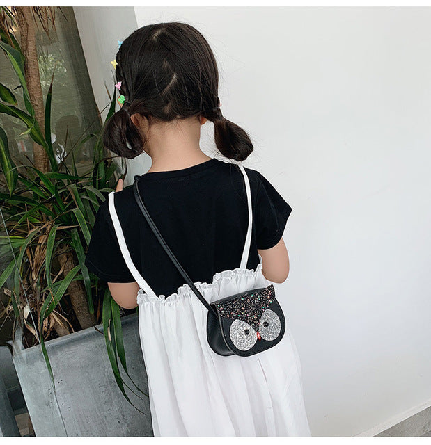New Sequins Baby Girl Shoulder Bag Messenger Cute Owl Princess Bags Children School Bags Coin Purses and handbags