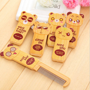 1PC Cute Cartoon Folding Comb With Mirror Hair Brushes For Baby Girls Travel Accessories Portable Folding Mini Comb Bear Patten