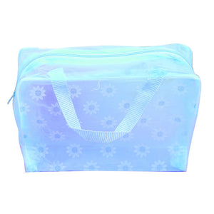Fashion Transparent Floral Print Makeup Baby Supplies Zipper Toiletry Pouch Waterproof Storage Bag Bathing Pouch Pocket Durable
