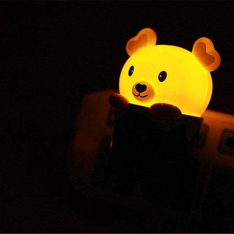 Light Sensor Control Bear LED Night Light 110V 220V Cartoon Mini Animal Bedroom Bedside Lamp for Children Kids Baby US EU Plug