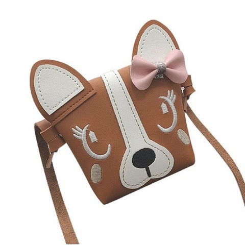 2019 New Children Handbag For Girl Bowknot Dog Shoulder Bag Baby Purse PU Leather Messenger Bag Kid Crossbody Bag Wallet