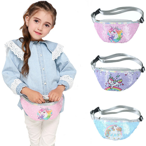 Children's Leather Waist Bag Cartoon Fanny Pack Kids Phone Chest Bag Baby Girls Belt Bag Cute Sequins Waist Packs