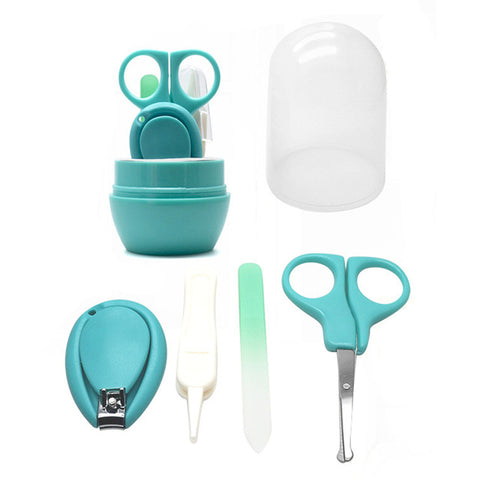 4 Pcs Baby Manicure Set Plastic Stainless Steel Finger Toe Nail Clipper Scissor Cutter Kit Children Kids Nails Care Tool MSI-19
