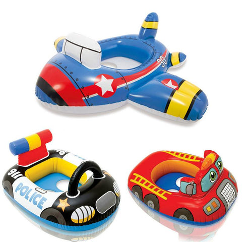 Children's Swim Ring Baby Inflatable Floats Cartoon Swimming Car Model Smooth Seat Strap Stability Outdoor Parent-child Swimming
