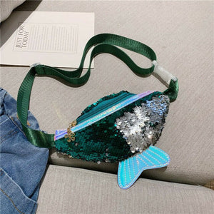 New cute baby toddler girl waist bag mermaid fishtail sequins fanny pack fashion chest bag mini purse