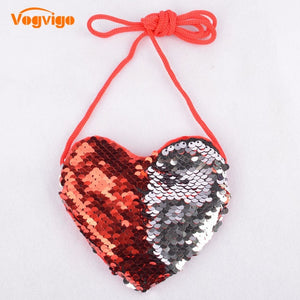 Vogvigo Sequins Loving Heart Cartoon Small Coin Purse Children Handbags Kids Shoulder Coin Bag Baby Girls Mini Messenger Bag