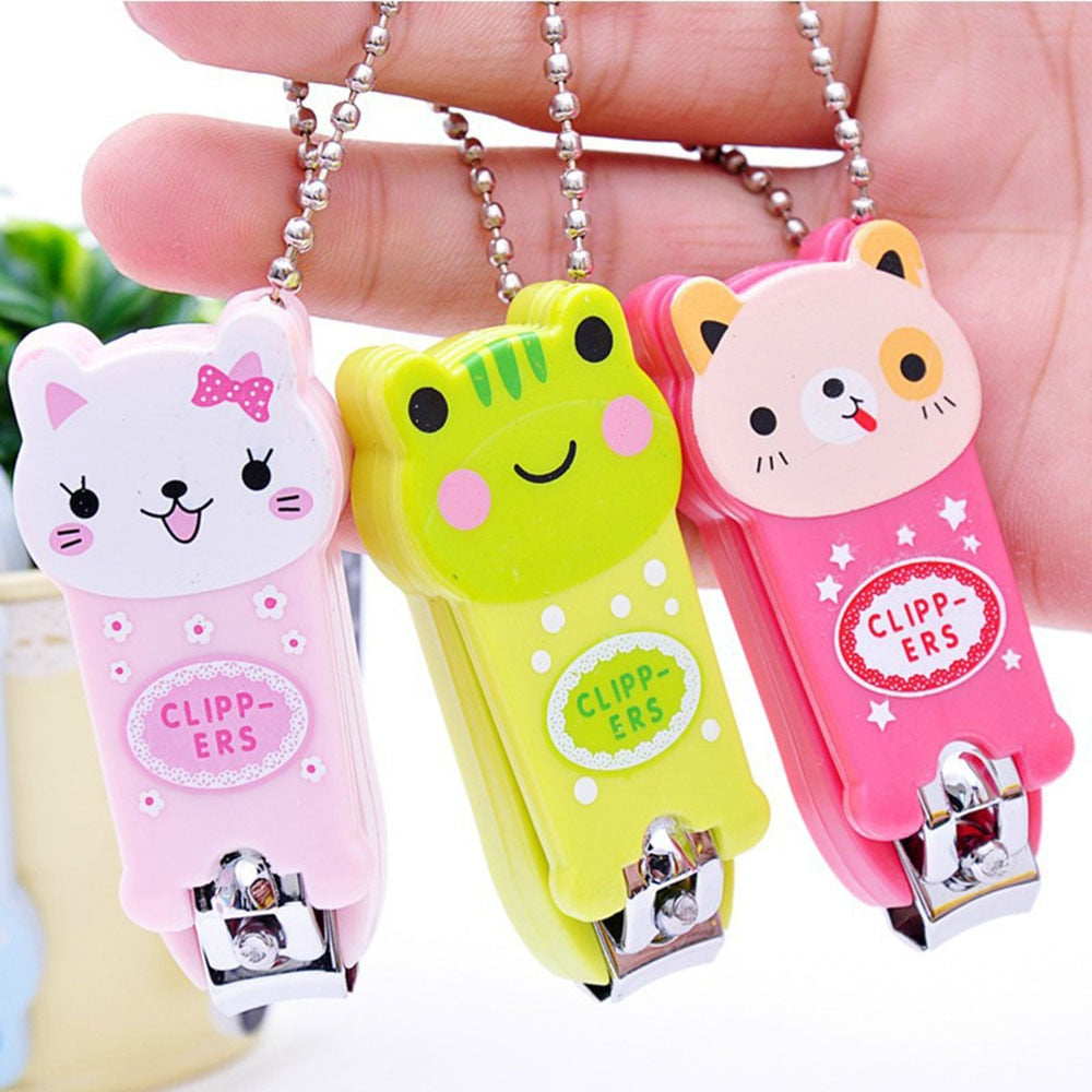 1Piece Nail Clipper Mini Cute Baby Nail Clipper Cartoon Finger Trimmer Scissors Nail Cutter with Keychain Random Color