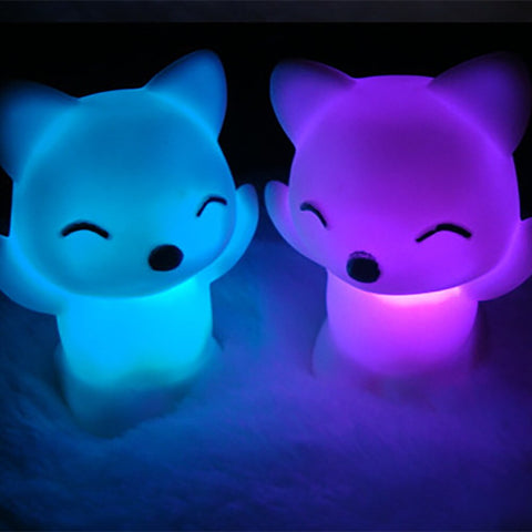 Breathing 7 Changing Colors Lovely Fox Shape LED USB Children Animal Night Light Silicone Soft Cartoon Baby Nursery Lamp