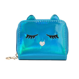Fashion PU Hologram Wallet Women Cat Girls Kids Small Wallet Cute Baby Coin Purse Bag Kawaii Money Card Holder Handbags Gift