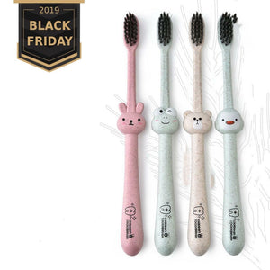 Children Baby Toothbrush Bamoboo Cartoon Wheat Handle Oral Bamboo Charcoal Brush Care Natural Wheat Straw Oral Care Toothbrush