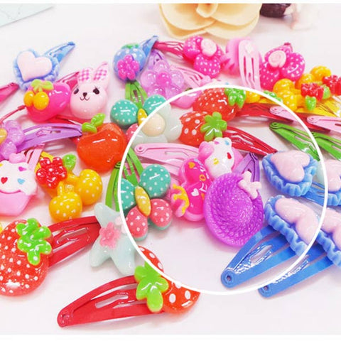10Pcs/Lot Cartoon Kids Hair Pins Baby Infant Flower Clips Girls Lovely Hairpins Hair Accessories  KG66